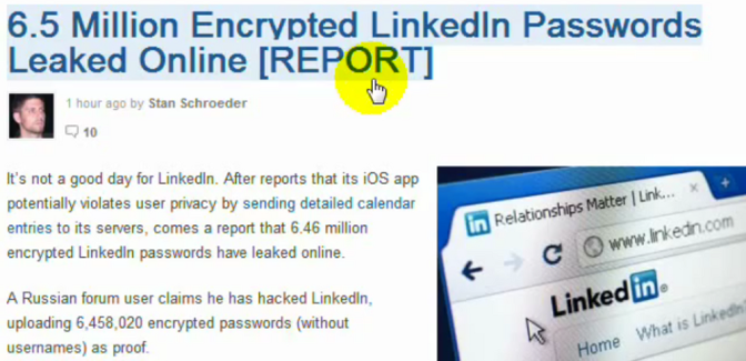 BREAKING:  Over Six Million Linkedin Profile Passwords Leaked To The Public