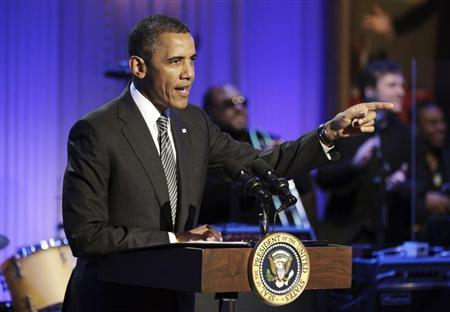 U.S. President Obama delivers remarks at a concert celebrating Memphis Soul music