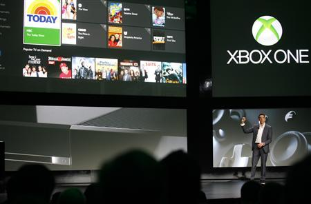 Yusuf Mehdi, senior vice president of Microsoft's Interactive Entertainment Business, discusses the Xbox One uses for television viewing during a press event in Redmond