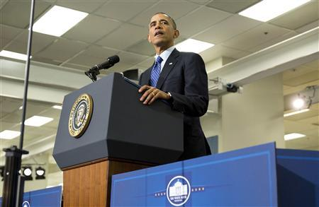 U.S. President Barack Obama delivers remarks on jobs during a visit to Applied Materials in Austin