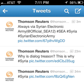 Syrian Electronic Army Hits Thomson Reuters Twitter Feed !!!