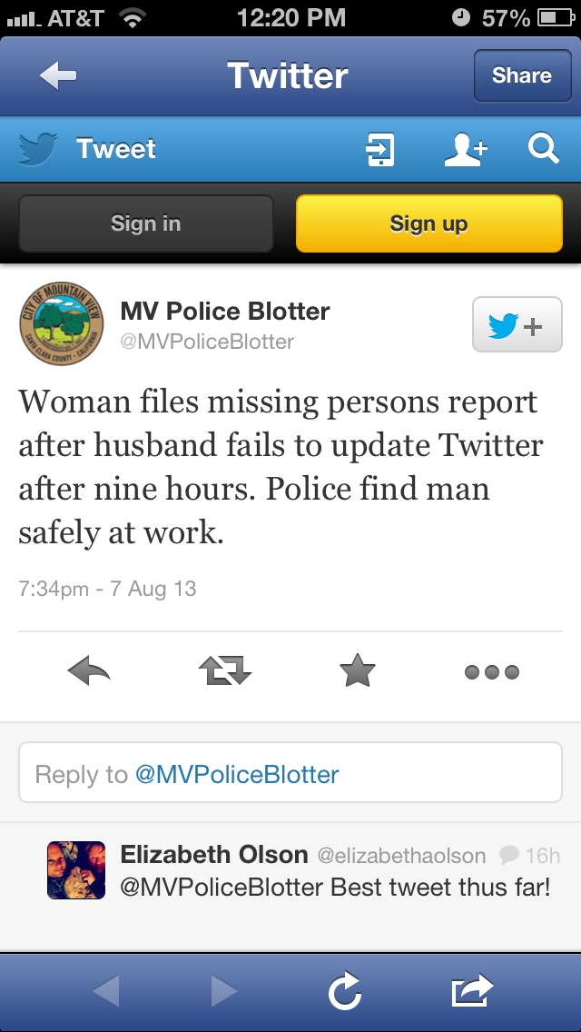 A real tweet from Mountain View Police Dept (imgur.com) !!!  (LOL)